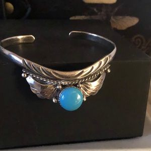 Jewelry - Vintage SS/sleeping beauty turquoise Navajo  cuff
